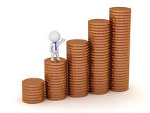 3D Character with Bronze Coins Stock Photography