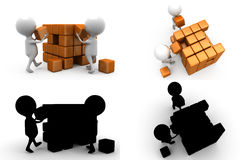 3d character build cube concept  collections with alpha and shadow channel Stock Photography