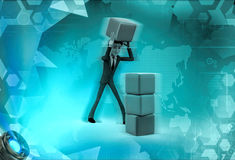 3d character building with cube concept Royalty Free Stock Photos