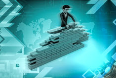 3d character building wall with bricks Stock Photo