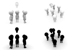3d character bulb concept collections with alpha and shadow channel Royalty Free Stock Photo