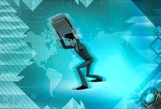 3d character with burden of rk illustration Royalty Free Stock Photos