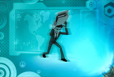 3d character with burden of rk illustration Stock Photography