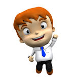 3d character - Businessman jumps, celebrates, with clipping mask Royalty Free Stock Photos