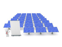3D Character Businessman Showing a Rollup Poster and Solar Panel. A 3D character is showing a rollup poster and many solar panels.  on white background Stock Photos