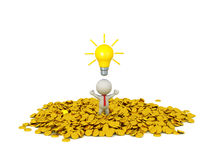 3D Character Businessman wearing Tie with Light Bulb Idea and Go. 3d character wearing red tie standing in a pile of golden coins, with a light bulb idea above Stock Images