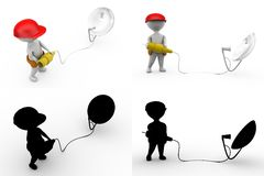 3d character cable with satellite dish and connect cable concept Stock Photography
