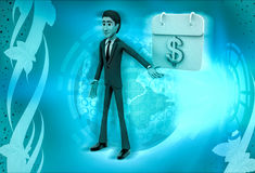 3d character with calendar of money illustration Royalty Free Stock Photography