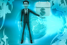 3d character with calendar of money illustration Stock Photography