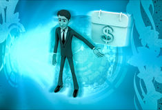 3d character with calendar of money illustration Royalty Free Stock Images