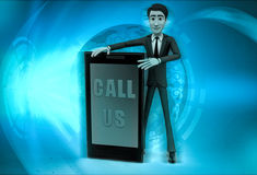 3d character with call us to present service illustration Royalty Free Stock Photography