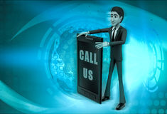 3d character with call us to present service illustration Stock Photography
