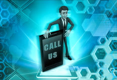 3d character with call us to present service illustration Royalty Free Stock Image