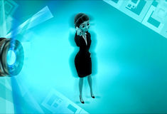 3d character calling on mobile phone illustration Stock Image