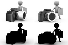 3d character with camera and note concept collections with alpha and shadow channel Royalty Free Stock Photo