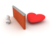 3D Character can`t find love Stock Image
