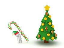 3D Character with Candy Cane and Christmas Tree. 3D character holding a large candy cane next to a decorated Christmas tree. Isolated on white background Stock Photos