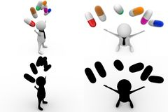 3d character with capsules concept collections with alpha and shadow channel Stock Image