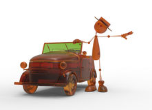 The 3D character with car Royalty Free Stock Photography