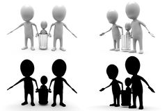 3d character carry child concept collections with alpha and shadow channel Stock Photo