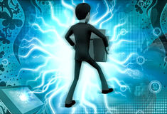 3d character carrying heavy material illustration Royalty Free Stock Photography