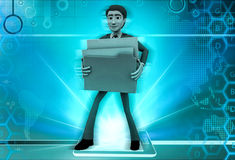 3d character carrying heavy material illustration Stock Photos