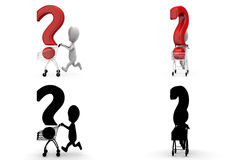 3d character cart question mark concept  collections with alpha and shadow channel Royalty Free Stock Image