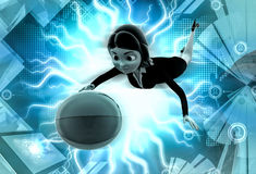 3d character catch ball illustration Royalty Free Stock Images