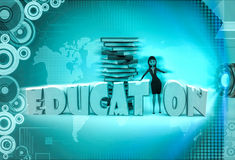 3d character with charactery books for education illustration Royalty Free Stock Photos