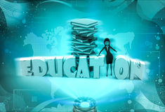 3d character with charactery books for education illustration Royalty Free Stock Images