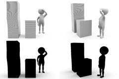 3d character charactery files concept collections with alpha and shadow channel Stock Images