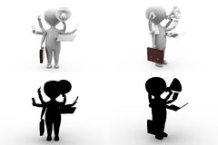 3d character charactery hands concept collections with alpha and shadow channel Royalty Free Stock Images