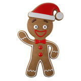 3d character, cheerful gingerbread, Christmas funny decoration, Royalty Free Stock Photography