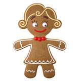 3d character, cheerful gingerbread, Christmas funny decoration,. Baked sweet candy, baby with frosting, funny fresh addition isolated on white background Stock Images