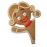3d character, cheerful gingerbread, Christmas funny decoration,. Baked sweet candy, baby with frosting, funny fresh addition isolated on white background Royalty Free Stock Photography