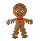 3d character, cheerful gingerbread, Christmas funny decoration,. Baked sweet candy, baby with frosting, funny fresh addition isolated on white background Stock Image