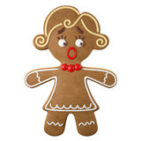 3d character, cheerful gingerbread, Christmas funny decoration,. Baked sweet candy, baby with frosting, funny fresh addition isolated on white background Stock Photos