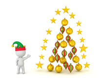 3D Character with Christmas Globes and Stars Stock Photography