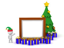 3D Character with Christmas Tree and a Frame Royalty Free Stock Photos