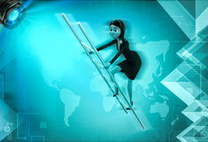 3d character climb ladder illustration Royalty Free Stock Images