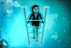 3d character climb ladder illustration Stock Photo