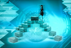 3d character climbing four sided stairs illustration Stock Photos