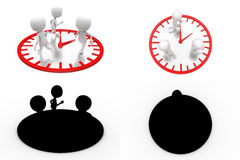 3d character on clock concept collections with alpha and shadow channel Royalty Free Stock Photo