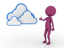 3d character with cloud computing concept Royalty Free Stock Photography