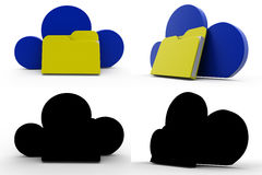 3d character cloud files concept collections with alpha and shadow channel Royalty Free Stock Photos