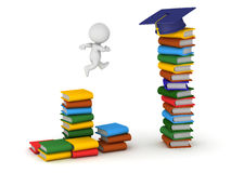 3D Character with Colorful Books and Graduation Hat. 3D character jumping from a small stack of books to a larger stack of books with a graduation hat on top Stock Photos
