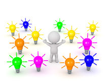 3D Character and Colorful Light Bulb Ideas Stock Photo