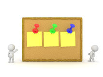 3D Character with Cork Board and Notes Stock Photo