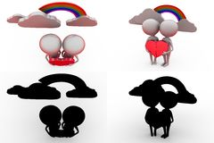 3d character couple with heart puzzle concept collections with alpha and shadow channel Stock Photo