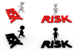 3d character crossing risk concept collections with alpha and shadow channel Royalty Free Stock Photos